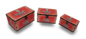 Set of 3 Nesting Distressed Finish Decoupage Look Octopus Trunk Boxes