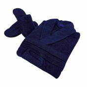 Ladies Bathrobe Womens Towelling Dressing Gown Mens Bath Robe Free Matching Slippers long Free Size Housecoat 100% Cotton , Navy