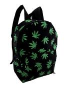 Grass Green Hemp Plant Leaf Print Black Canvas Backpack