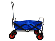 Foldable and robust hand cart in blue with pneumatic tyres and protection cover, 65828