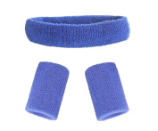 Mcolics Cotton Sweatband Set - (1 Headband and 2 Wristbands), Also Available in 13 Colours - Sports Basketball Yoga Headband / Sweatband Head Sweat Band/brace