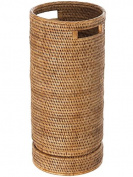 KOUBOO La Jolla Rattan Round Umbrella Stand With Water Catch, Honey Brown