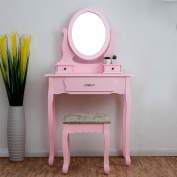 CherryTree Furniture PINK Dressing Table 3-Drawer Makeup Dresser Set with Stool Oval Mirror