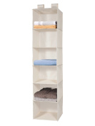 MaidMax 6 Shelf Hanging Wardrobe Storage Unit Sweater Organiser for Clothes and Shoes Storage-Beige