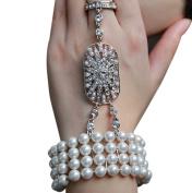 Zking Art Deco The Great Gatsby Inspired Pearl Flower Wedding Bridal Bracelet Bangle Ring Set