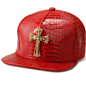Mengma Fashion Hip Hop Style Crystal CZ Iced Out Jesus Cross Pendant Bling Bling PU Leather Sports Hats Baseball Cap