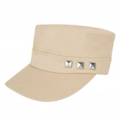 Aerusi Unisex Cotton Twill Rivet Studded Military Corps Cadet Snapback Cap Peaked Cap Sun Hat Baseball Hat