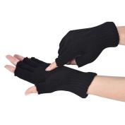 Malloom Men Black Knitted Stretch Elastic Warm Half Finger Fingerless Gloves