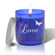 personalised BLUE COLLECTION CANDLE : LOVE WITH BUTTERFLY