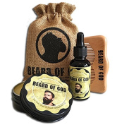 WARM TOBACCO PIPE | 60ml BEARD BALM Conditioner + 30ml OIL + WOOD COMB + SACK By BEARD of GOD | Made to Order | ORGANIC | Scents for Gents