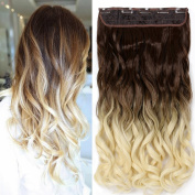 Neverland Beauty 60cm Synthetic Curly Two Tone Ombre Hairpiece Hair Extensions 3/4 Full Head Clip Coffee to Blond