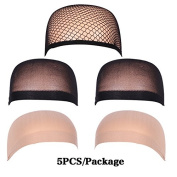 Fani Wig Caps Netural Nude Beige and Open end Black Mesh 5 Pack Wig Caps