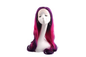 THINKSHOW Cosplay Long Natural Straight 60cm Purple Pink Ombre Synthetic Lace Front Wig Drag Queens Hair