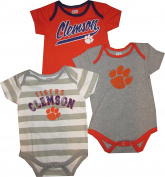 Clemson Tigers 3pc Creeper Bodysuit Set Infant Baby Stripes