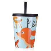 UPSTYLE Ceramic Cup Porcelain Cup with Plastic Lid and Silicone Straw Cartoon Pattern Big Capacity Coffee Mug, 23 Ounce (Gray2) ...
