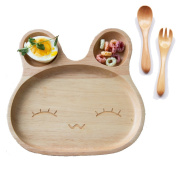 TAMUME Wooden Food Tray for Kids Children Wooden Dish Plate with 3 Compartment Wooden Bowl Ideal for Children Breakfast Serving Platter or Snack Container