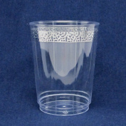 Decorline-300ml Tumblers -Clear with Silver Lace Rim- Heavyweight Plastic Elegant Disposable Plates, Wedding Party- Elegant Dinnerware - Inspiration Collection