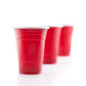 100 Red party cups | 16 oz | Party Cup, Made of Plastic, for Cold Drinks, 16 Oz/ 455 ml Capacity by RIVENBERT