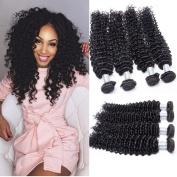 Guangxun Hair Brazilian Curly Wave Virgin Hair 4 Bundles Mix Length, Remy Brazilian Sexy Deep Curly Weave Human Hair Extensions Natural Colour