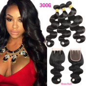 HANNE 3 Bundles of Brazilian Hair with Closure 300G Brazilian Virgin Hair Body Wave Bundles with Closure