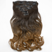 Neverland Beauty Two Tone 7pcs Ombre Curly Hair Extensions Hairpiece Heat Resistant As Real Hair 6#/27#