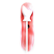 Tomoyo - Cotton Candy Pink Wig 80cm Long Straight Cut w/ Long Bangs