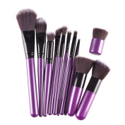 Usstore 11PC Purple Pro Cosmetic Makeup Brush Beauty Brushes Foundation Kits Tool Make Up For Professional Women Lady