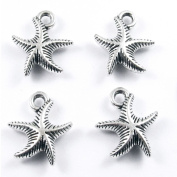Metal Double Sided Charms-SILVER CURVY SEA STARFISH 14x16mm
