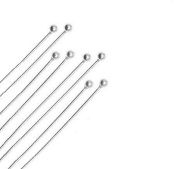 "Silver Plated Brass (Ball) Head Pin 22 ga 3"" (2 MM Ball) Pack Of 144"