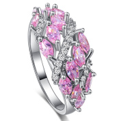 Narica Womens Brilliant Marquise Cut Pink Topaz CZ Engagement Ring