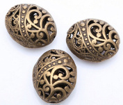 10pcs Antique Tibetan Bronze Ellipse Shaped Hollow Spacer Oval Beads Handcrafts Finding Jewellery Making DIY