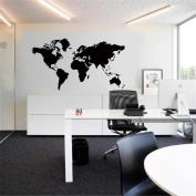 HN World Map Removable Vinyl Wall Sticker Wallpaper Home Office Art Decal