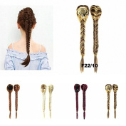 FESHFEN Long Cute Fishtail Braided Ponytail Clip in/on Braided Rope Hair Chignon Drawstring Braid Fishtail Plait Ponytail Hair Extensions Hairpiece 48cm 130g Ligt Ash Blond and Medium Golden Brown