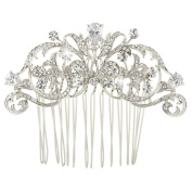 EVER FAITH Wedding Royal Flower Hair Comb Clear Zircon Crystal Silver-Tone