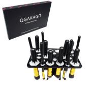 QGAKAGO 28 Hole Makeup Brush Tree Holder Organiser Folding Collapsible Air Drying Tower Brush Dryer