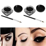 Eyeshadow,Baomabao 2 PCS Mini Waterproof Eye Liner Gel Cream With Brush Makeup Cosmetic Black