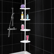 4 Tier Shelf Adjustable Corner Shower Caddy Telescopic Bathroom Shelf Toiletry Organiser Rust Free Tension Fitting From Ceiling to Floor/Bath - White
