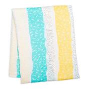 lulujo Baby Muslin Swaddling Blanket, Aqua Spotted Stripe