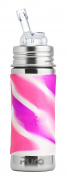 Pura Kiki 11 oz / 325 ml Stainless Steel Straw Bottle with Silicone Straw & Sleeve, Pink Swirl
