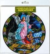 15cm x 15cm SUNCATCHER TIFFANY STYLE Window Sticker GUARDIAN ANGEL BOY GIRL