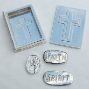 Pewter Bible Trinket Box with St Christopher, Faith and Spirit Charms Inside, Handcast by William Sturt Fine Pewter