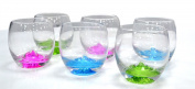 Set of 6 Mountain Clear Glass Contemporary Multicoloured 300ml water juice cocktail