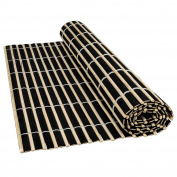 Luxury Natural Bamboo Wood Table Runner Placemats Large Serving Dining Roll Up Mats Japanese Sushi Oriental Style 45x30cm- Black