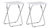 Set Of 2, Folding TV Table Ideal For Tea Coffee Snacks Breakfast Lunch Dinner Games & Laptop Portable Table, White Gloss Table Top With Silver Finish Frame