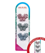 Girl's Colour-Changing Hair Clips by Del Sol - Metal Butterfly Hairclips - Changes Colour in the Sun