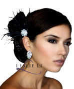 Leslie Li Women's Fan Shaped Feather Fascinator Hair Clip Bridal Party Headpiece One Size Black/Ivory/White F32