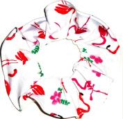 Flamingos Interlock Knit Fabric Hair Scrunchie Scrunchies by Sherry Pink White