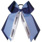 Custom Mascot Two Colour Large Hair Bow , Made in the USA, Pick your Mascot & Colours, Black Pony Band