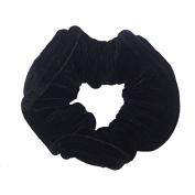 NTL #114 Black Velvet Elastic Hair Scrunchies (Regular) Tie Band Ponytail Holder, Hair Scrunchy