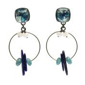 Tamarusan Hoop Earrings Blue Lapis Lazuli Lily White Quartzite Quartz